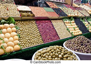 Olive stall at a market