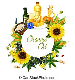 Olive, sunflower, corn and coconut oil label - Organic oil ...