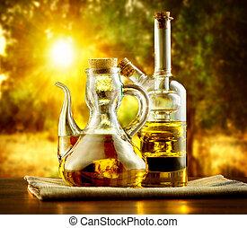 olive, table, huile, jardin, arbres