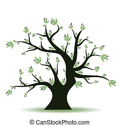 Olive tree - Abstract olive tree on white background