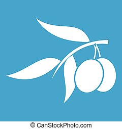 Olive tree branch with two olives icon white