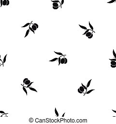 Olive tree branch with two olives pattern seamless black
