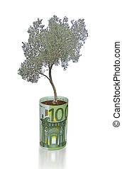 Olive tree growing from euro bill