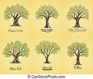 Olive tree silhouettes with leaves and branches
