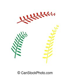 Olive twig sign. Isometric style of red, green and yellow icon.