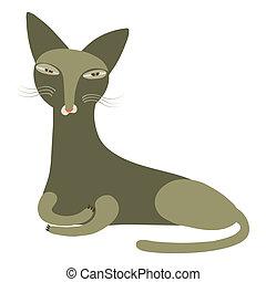 olive, vecteur, illustration, chat
