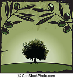 Olive - Vector illustration of olive tree and branch