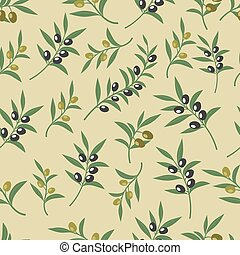 Olive vector seamless pattern with leaves, olives and branches. Texture for fabric or paper print