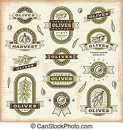 olive, vendange, étiquettes, ensemble