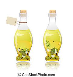 olive, verre, huile, bouteille