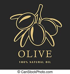 Olive with leaves on dark background. Olive logo. Vector illustration.