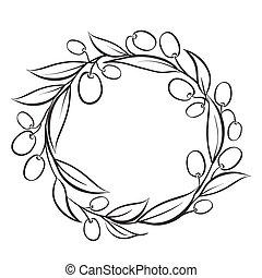 Olive wreath frame.