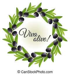 Olive wreath - Round wreath of wet leaves and black olives...