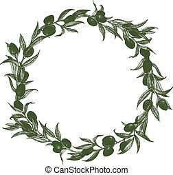 Olive wreath vector - Beautiful vector image with nice hand...