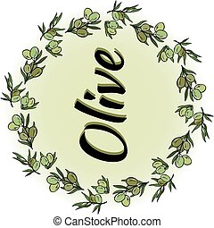 Olive wreath with an inscription. Vector round frame.