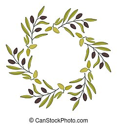 Olive wreath with hand drawn branch