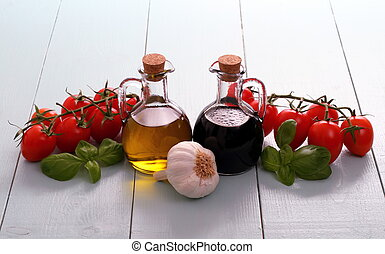 olivenöl, und, essig, in, flaschen, auf, holztisch