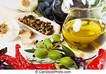 olivenöl, und, lebensmittel, bestandteile