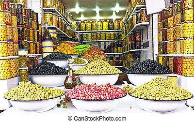 oliven, afrikas, markt, marokko