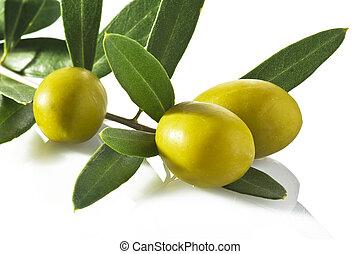 oliven, closeup, weiß, hintergrund