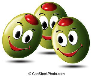 oliven, gefüllt, mit, lächeln