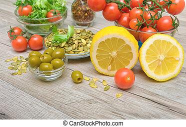 oliven, lebensmittel, zitrone, hölzern, andere, tisch