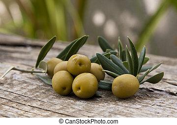 oliven, mit, olive, blätter