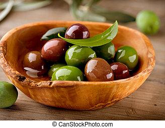 oliven, und, olivenöl