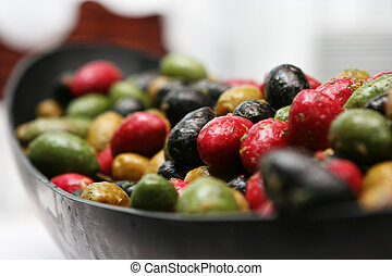 Olives - A tray of gourmet olives. Shallow depth of field.