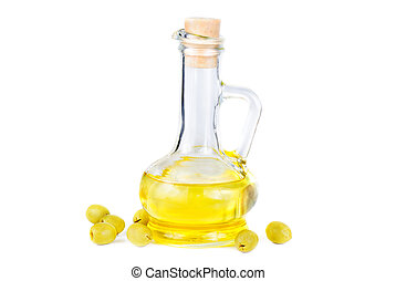 olives and a small decanter of olive oil isolated on white