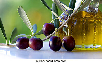 Olives and oil. - Olives and oliveoil.