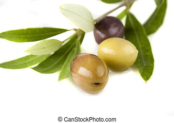 olives and oil with leaves, shallow depth of field