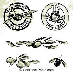 Olives and olive oil labels - Vector illustrations of olives...