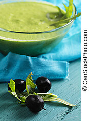 Olives and pesto sauce