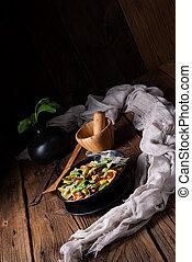 olives, asperge, salade, parme, vert, pâtes, jambon