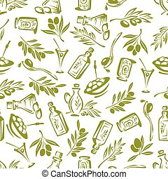 Olives branches and olive oil seamless wallpaper