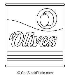 Olives can icon, outline style