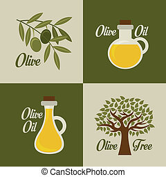 Olives design over green and beige background, vector illustration