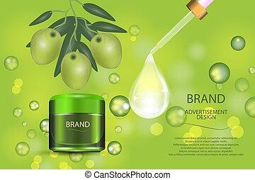 olives, drop., collagène, pot, cosmétique, bokeh, vert, luxe, fond, sérum, crème