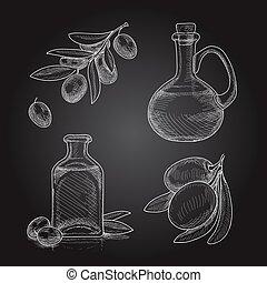 olives, ensemble, branches, oil., bouteilles, croquis, main, arrière-plan noir, olive, dessiné
