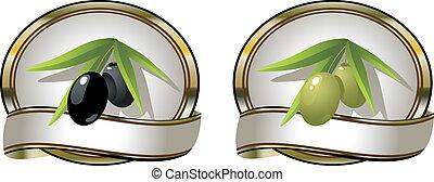 olives:, etiketten, groene, twee, black