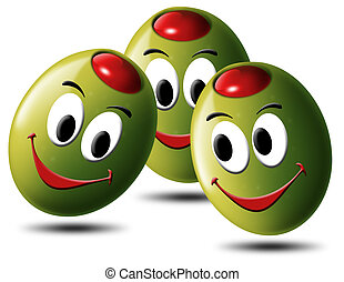 Illustration of 3 smiling green olives, stuffed with tomato or chili