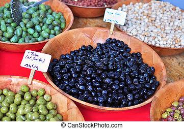 Olives, food market