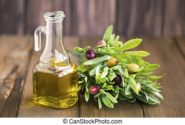 olives, huile, organique, bouteille, bois, méditerranéen, rustique, cru, fond, branche, olive, frais, sain, ingrédient