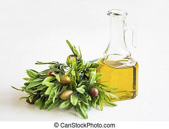 olives, huile, organique, bouteille, sain, méditerranéen, isolé, branche, olive, frais, ingrédient