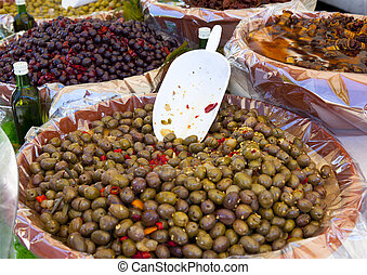 olives in a italian market