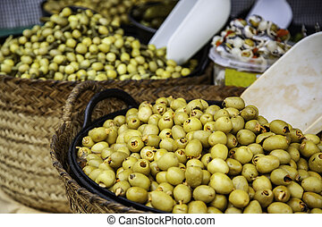 Olives in a market