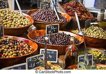 Olives in a street market