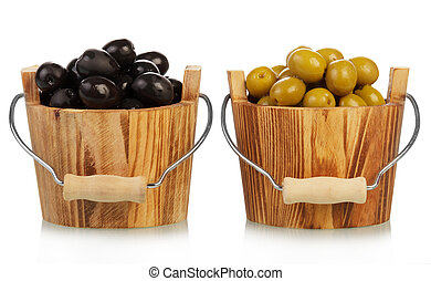 Olives in buckets