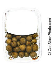olives in plastic box surface